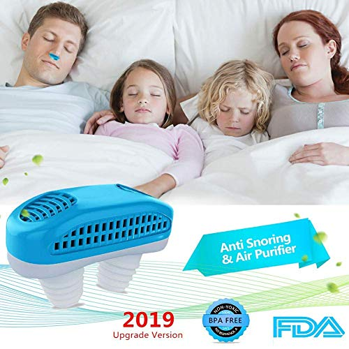 2-in-1 Anti Snoring Devices Air Purifier Filter Snoring Solution Nasal Dilator Ease Breathing Snore Stopper Sleeping Aid Device for Husband or Father (Blue)