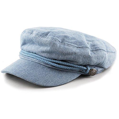 The Hat Depot Black Horn Unisex Cotton Greek Fisherman's Cap (L/XL, Lt. Denim)