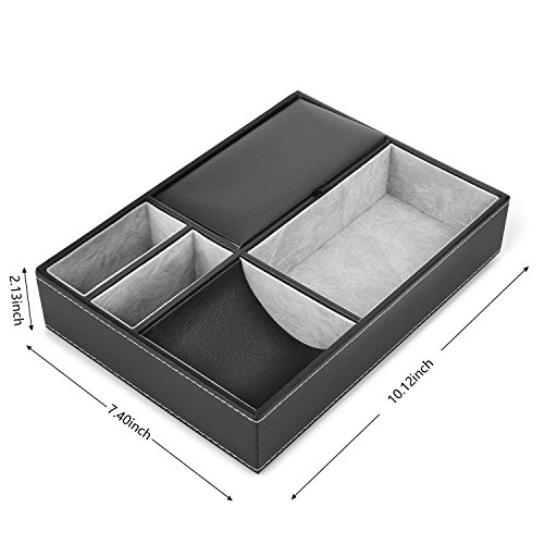 Valet Tray, 5 Compartments PU Leather Dresser Valet Organizer for Watches and Jewelry by Juns (Image #1)