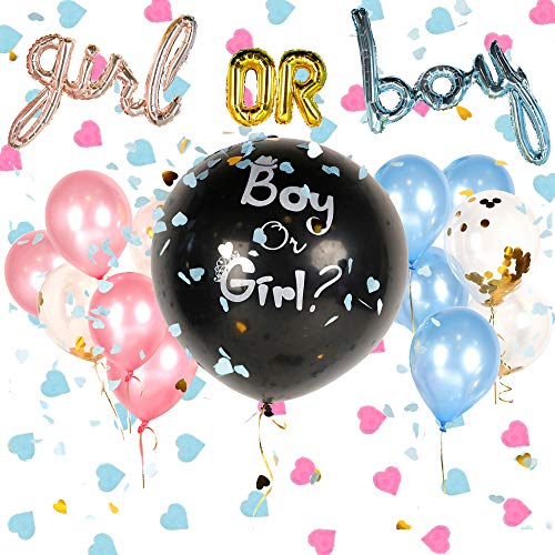 Gender Reveal Party Supplies, Gender Reveal Balloon with Confetti, Complete Set of Gender Reveal Decorations (20 Pieces), Baby Reveal Party Supplies by Marketplace Essentials]()