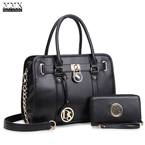 MMK Collection Medium Size Women Light Color New Popular Roomy Gold Plated Hinge Decorated Satchel(7380) Top Handle Handbag with Shoulder Strap and Free Matching Wallet Set (MA-03-7103W-BK)