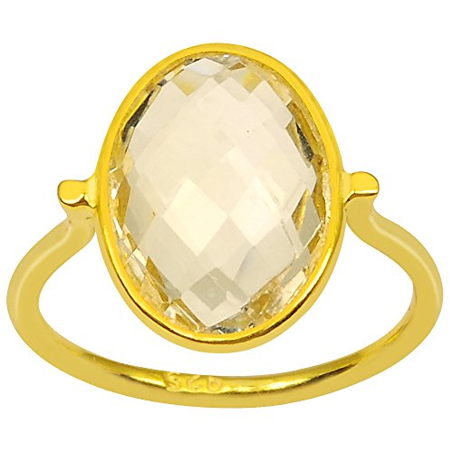 Citrine 9k Gold Over Sterling Silver Handmade Ring (14X10MM Checkerboard Oval) (9ct Gold Setting)