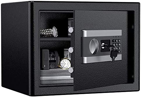 ETE ETMATE Safe Security Box, Digital Keypad and Key Lock for Cash Money Jewelry, Fireproof Waterproof Safe Cabinet with Induction Light 1.0cub