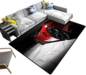 Boys Room, Camping Mat Modern Speed Sport Car Washable Printed Rugs for Kitchen and Bathroom, 5'x 7'