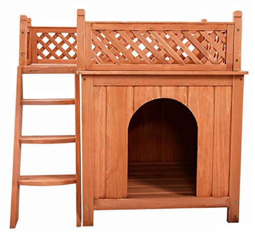 Wooden Puppy Pet Dog House Wood Room In/Outdoor Raised Roof Balcony Bed Shelter (wood)