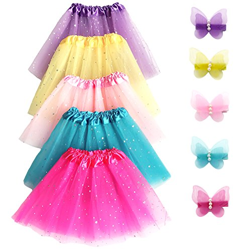 Elesa Miracle 5pc Girls Layered Sequins Ballet Tutu Skirt with 5pc Matching Mini Butterfly Hair Clips Kids Princess Ballet Dance Party Favor (Tutus For Children)