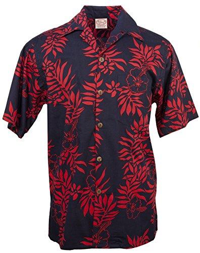 Mini Barefoot Go (Go Barefoot - Mini Tahitian - Men's Hawaiian Print Aloha Shirt - in Navy-Red - Large)