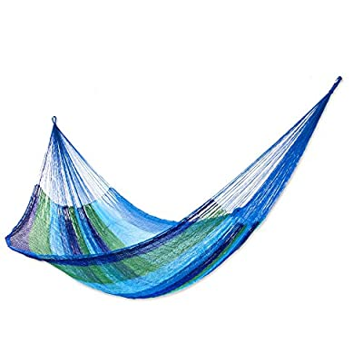 NOVICA Green Aqua Blue Striped Nylon Hand Woven Mayan Rope 2 Person XL Hammock, Sea Breeze' (Double) - Size: 7.2 ft. W x 12.8' H Authentic: an original NOVICA fair trade product in association with National Geographic. Certified: comes with an official NOVICA Story Card certifying quality & authenticity. - patio-furniture, patio, hammocks - 51w9ggTIp3L. SS400  -