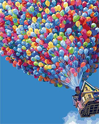 YEESAM ART Paint by Number Kits for Adults Kids White Christmas Gifts - Hot Air Balloon 16x20 inch Linen ()