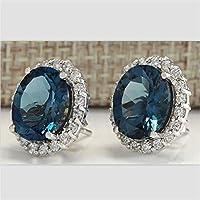 khamchanot Chic Jewelry 925 Silver Aquamarine Gemstone Dangle Drop Earrings Wedding Jewelry