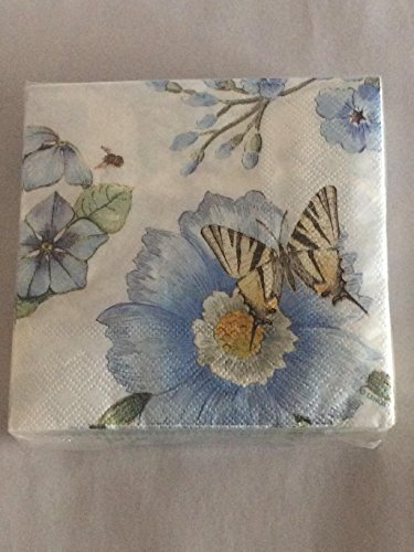 Lenox Butterfly Meadow Blue Cocktail Beverage Napkin 40 Count