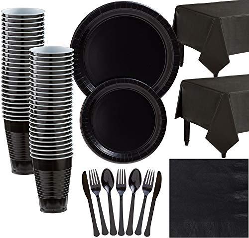 Amscan Black Paper Tableware Kit for 50 Guests, Party Supplies Set, Includes Plates, Cups, Table Covers and More -