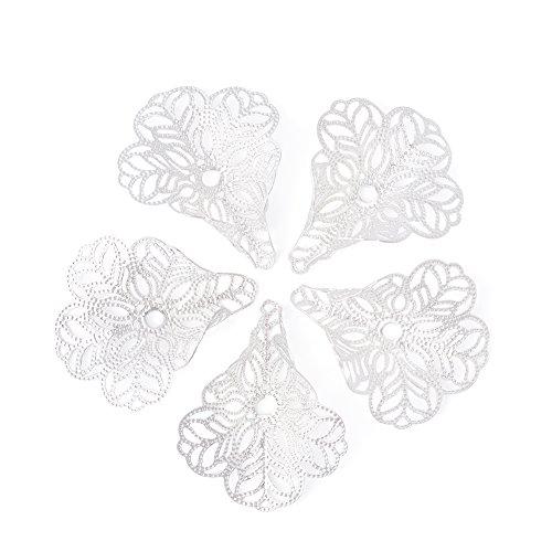 - Pandahall 100-Piece 29x24mm Hole 17gauge Silver 3-Petal Flower Bead Caps Filigree for Large Hole Beads DIY Jewelry Making