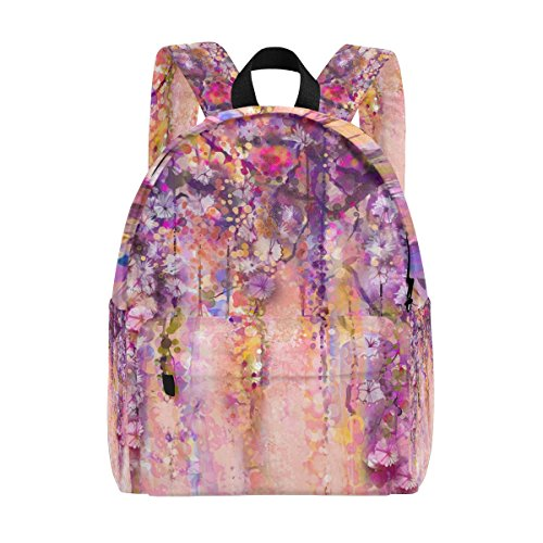 MAPOLO Pink Violet Watercolor Flowers Painting Wisteria Tree Lightweight Travel School Backpack for Women Girls Teens Kids