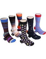 Marino Mens Socks - Cotton Funky Socks Mens - Colorful Design Crew Socks - 6 Pack