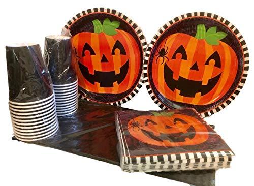 85 Piece Pumpkin Face Party Supplies Bundle for