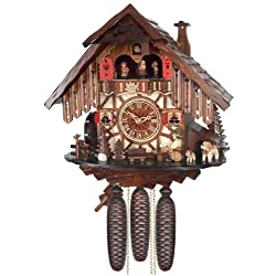 River City Clocks Eight Day Musical Cuckoo Clock Cottage with Beer Drinker and Moving Waterwheel