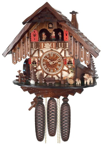 Eight Day Musical Cuckoos Clocks - River City Clocks Eight Day Musical Cuckoo Clock Cottage with Beer Drinker and Moving Waterwheel