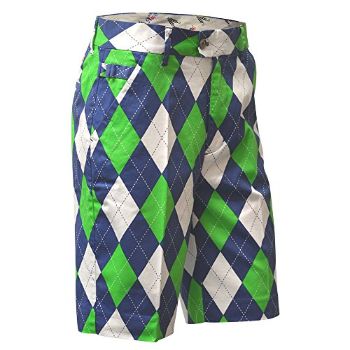 Royal & Awesome Men's Golf Shorts, Blues on The Green, 36