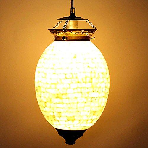 IndianShelf Handmade Decorative Shell Oval Shape Glass Chandelier Celling Lamp Indian Online (Oval Indian Glass)