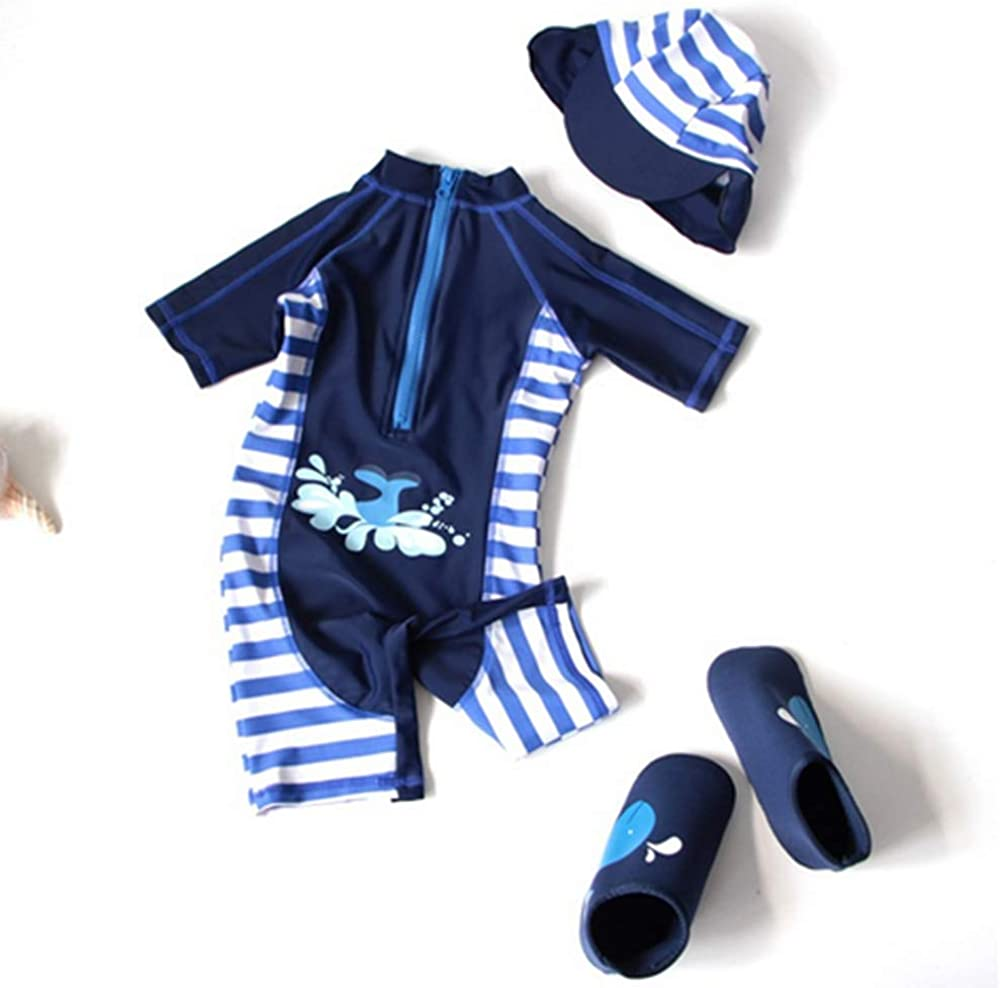 3D Shark One-Piece Swimsuit with Cap Costume Baby Toddlers Boys Girls Sun Protection Swimwear Bathing Suit