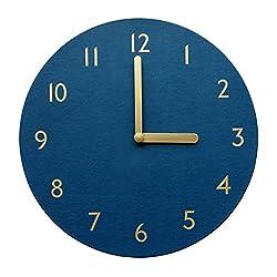 thehaki Decorative Wall Clock Silent & Non-Ticking Quartz Clock PU Leather Lightweight 0.6lb Round 11 (Navy)