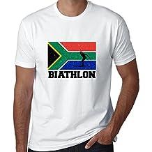 Hollywood Thread South Africa Olympic - Biathlon - Flag - Silhouette Men's T-Shirt