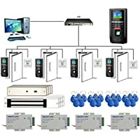 4 Doors Bio Fingerprint + RFID +PIN Time Attendance System Kits Mag Lock 110-240V Power Supply RFID Keychains Push to Exit Button
