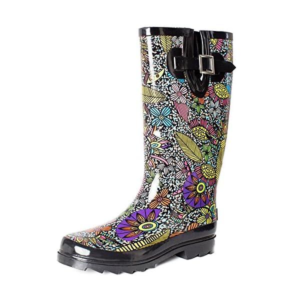 SheSole Women's Waterproof Rubber Rain Boot 1