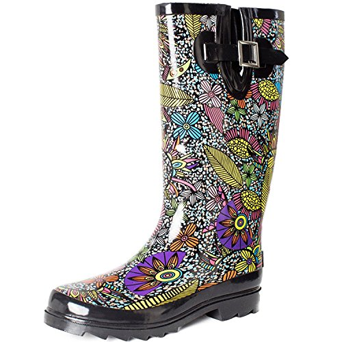 SheSole Women's Waterproof Rubber Rain Boot Black US 11