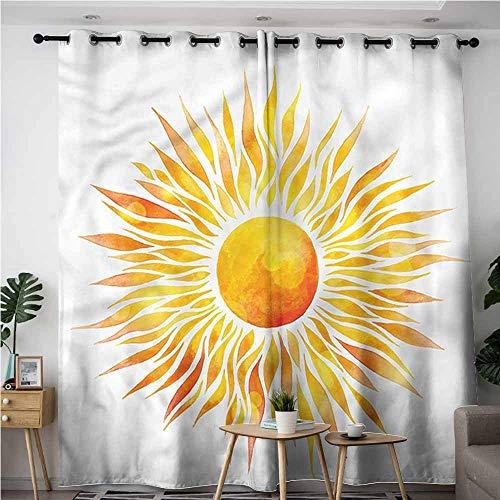XXANS Extra Wide Patio Door Curtain,Orange,Graphic Sunburst Watercolors,Darkening Thermal Insulated Blackout,W84x96L