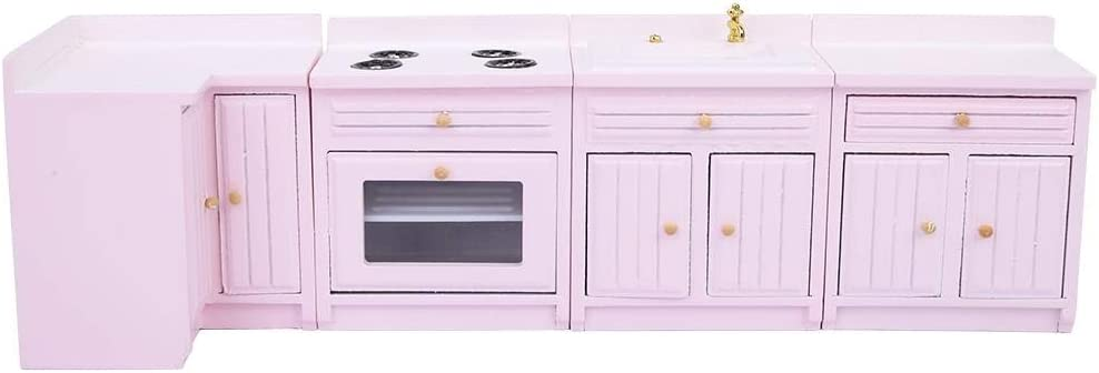 1 12 Dollhouse Miniature Kitchen Set Mini Pink Wooden Counters Kitchen Decoration For Doll House Amazon Co Uk Baby
