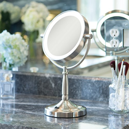Zadro Cordless Dual Sided Led Lighted Vanity Mirror Satin
