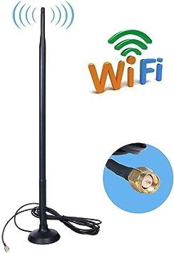SMA 9DBI gsm Alta Ganancia 4G LTE Amplificador de Antena WiFi Receptor de Adaptador de Red Antena SMA de Largo Alcance con Cable a Conector Hembra SMA ...