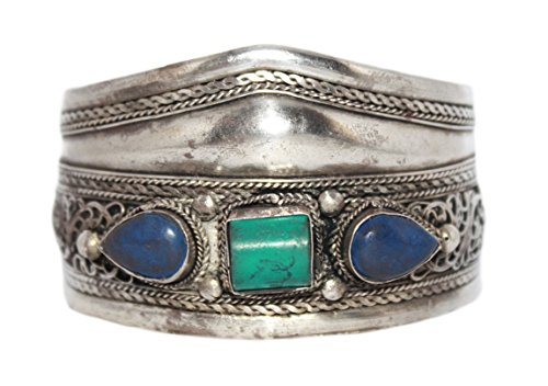 goldenlines Handmade Turquoise Lapis Cuff Bracelet BB255 (Lapis Turquoise Bracelet)