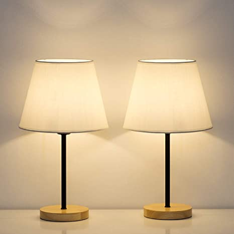 HAITRAL Modern Table Lamps - Small Bedside Lamps Set of 2, Nightstan Lamps  for Bedroom, Living Room, Office with Wooden Base Fabric Shade - White