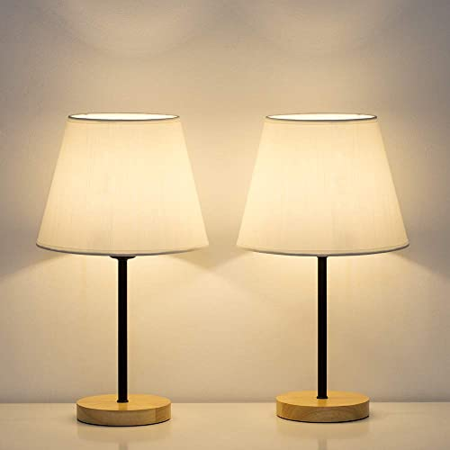 HAITRAL Modern Table Lamps – Small Bedside Lamps Set of 2, Nightstan Lamps for Bedroom, Living Room, Office with Wooden Base Fabric Shade – White