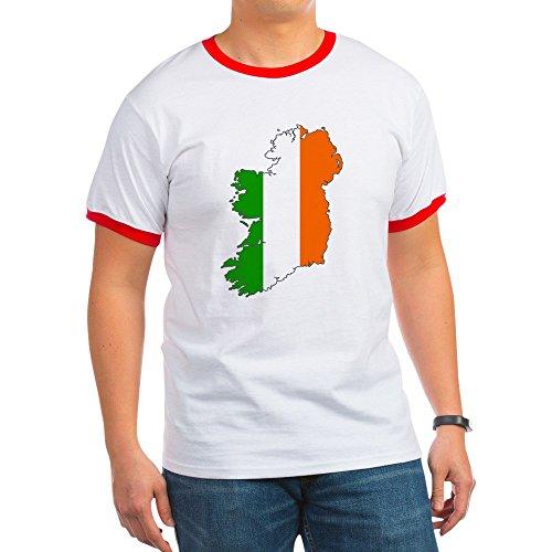 CafePress - Ireland - Ringer T-Shirt, 100% Cotton Ringed T-Shirt, Vintage Shirt Red/White
