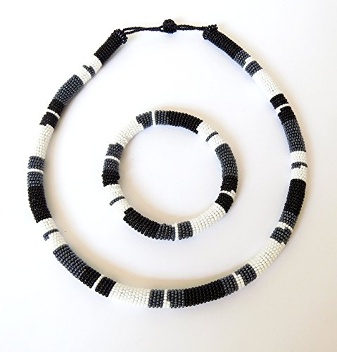 African Zulu beaded necklace and round bracelet set - Black/white/gunmetal - Gift for ()