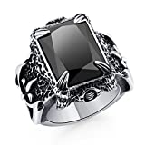 Best Rings With CZ Gems - DALARAN Vintage Silver Dragon Claw Ring with Black Review