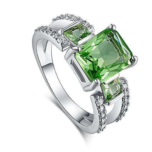 [Psiroy 925 Sterling Silver Emerald Shape 3.75cttw Green Amethyst Filled Ring] (Girls Jade Princess Costumes)