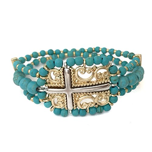 Gypsy Jewels Real Stone Beaded Sideways Cross Silver Tone & Gold Tone Stretch Bracelet (Imitation Turquoise) (Tone Beaded Silver Cross)
