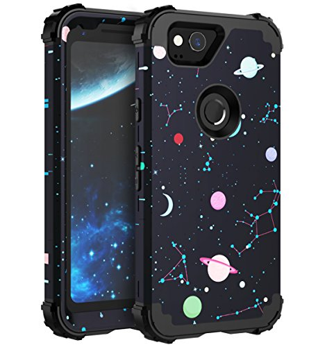 FOOXII Google Pixel 2 Case Space Cute Kids Boys Google Pixel2 Case [Heavy Duty] Silicone + Plastic Three Layer Hybrid Case High Impact Resistant Protective Cover Case for Google Pixel 2 Space Black
