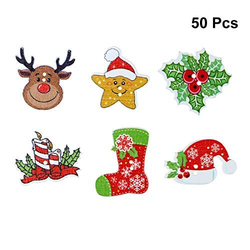 (SUPVOX 50pcs Wooden Christmas Buttons Sewing Craft Buttons Mini Reindeer Christmas Hat Embellishments Mixed)