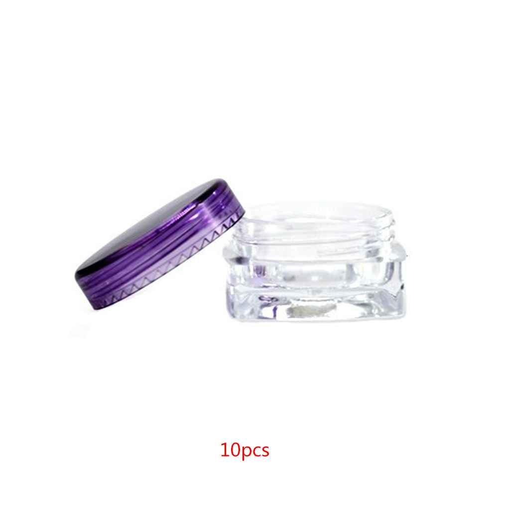 Luckiests 10PCS Square Clear Mixed Colors Cosmetic Empty Jar Makeup Pot Face Cream Eye Shadow Container Case Box 3g/5g