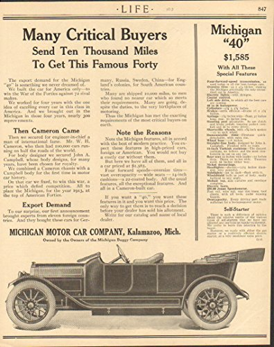 1913 Michigan Motor Car Kalamazoo MI Auto Ad Nabisco Biscuits