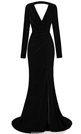 02100f47560b CCBubble Velvet Mermaid Prom Dresses Long Sleeves V-Neck Evening  DressesBlack-US2