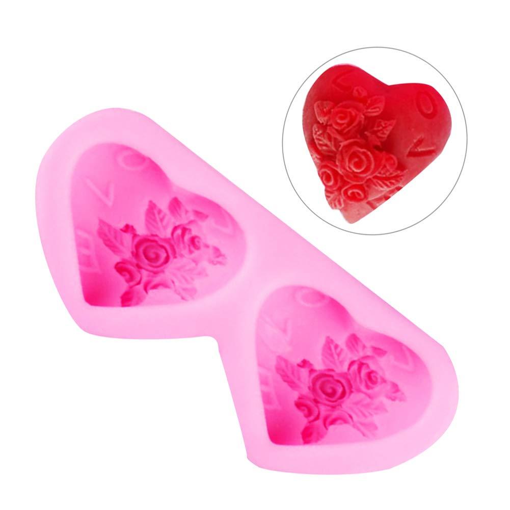 super1798 Rose Dual Heart Baking Silicone Dessert Mold Fondant Chocolate Cake Decor Tool - Pink