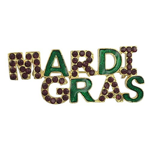 Mardi Gras Worded Purple Green Yellow Rhinestones Gold Tone Pin Brooch (Purple Rhinestones)