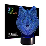 Wolf Night Lights for Kids,3D Night Lamp, Children Toys for Boys, 7 LED Colors Changing Lighting, Touch USB Charge Table Desk Bedroom Decoration, Cool Gifts Ideas Birthday Xmas for Baby Girl Friends